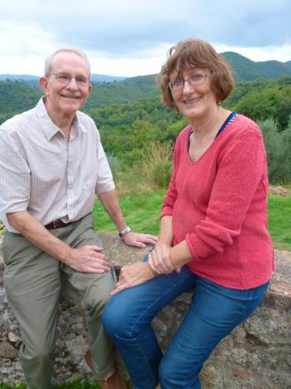 John and Peggy Heywood take a break from hiking in the hills surrounding Montestigliano.