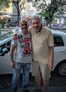 Francesco Aragiusto, the hero of our taxi tale, with Walter.