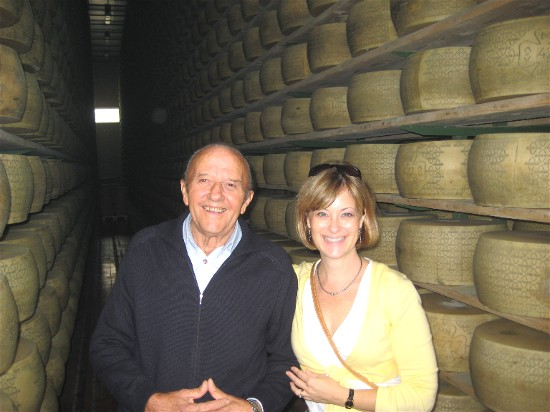 Settimo Dalla Ricca escorts us through the Grana Padana Cheese factory in Mantova.