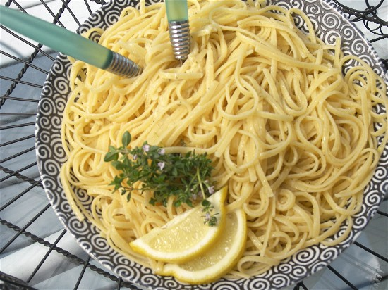 Linguine al limone is a silken melange that complements grilled summer seafood.