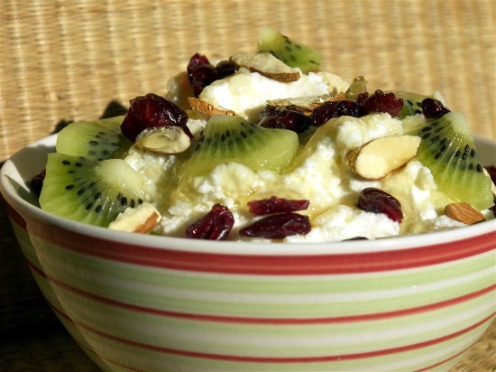 Fresh ricotta with fruits, almonds, and honey makes a heavenly breakfast.