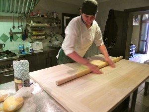 Anna, the chef at Montestigliano, hand rolls fresh egg pasta.