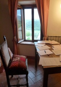 John's work desk in Tuscany.