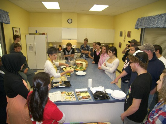 Sharon gives an overview of stuffed fresh Italian pastas -- such as tortellini, cappelletti, and ravioli -- to LCCC education students.
