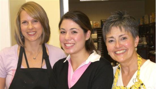 "Professor Mary Braccilli, ""agent"" Natalie, and Sharon at the LCCC ravioli session."