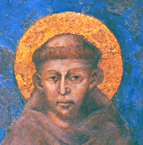 Francesco d'Assisi in a fresco by Cimabue.