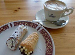 Ricotta di bufala cannoli and a pastry cream cornetto at Tempio.