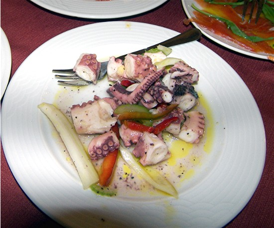 Octopus salad with fennel and extra virgin olive oil.