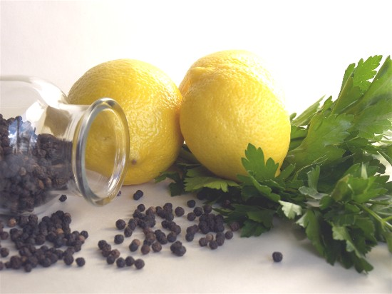 Black pepper, fresh lemon, and Italian flat-leaf parsley come to the rescue in the kitchen.