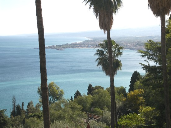 The stunning coastline viewed from mountaintop Taormina.